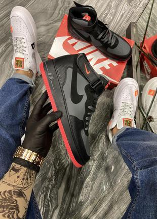 Кроссовки Nike Air Force High Black Grey Red