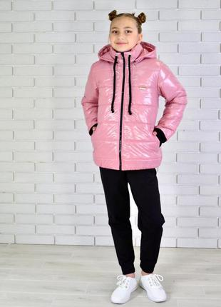 Куртка на девочку весна/осень пудровая