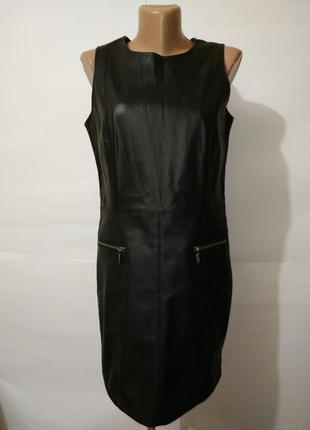 Черное платье миди по фигуре под кожу river island uk 10/38/s