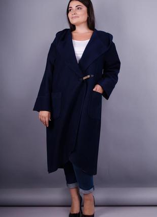 Размеры 50-64! стильное пальто кардиган кашемир синее, в разме...