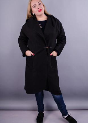Размеры 50-64! стильное пальто кардиган кашемир черное, в разм...
