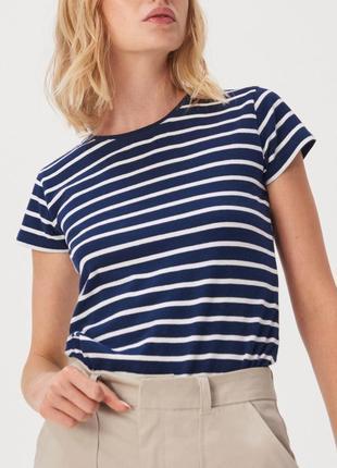 Новая полосатая синяя футболка темно-синяя полоска белая прямо...