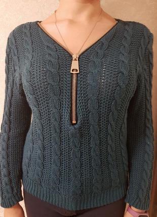 Пуловер женский со змейкой зеленый стильный теплый