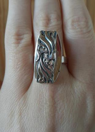 Серебряное  кольцо без вставок джунгли 17,5р