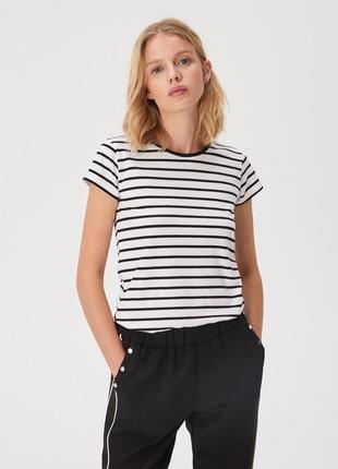 Новая модная полосатая белая футболка черная полоска польша хл...