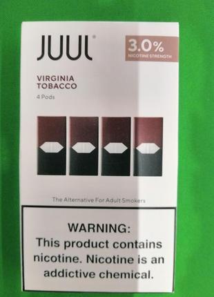 JUUL поды Virginia Tobacco 4 Pods 3% nicotine strength .Скидки.