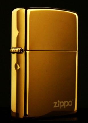 Zippo Gold Ice зиппо золотая глянцевая зеркальная Stok13