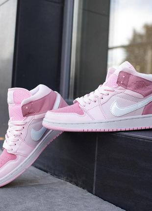 Кроссовки женские nike air jordan 1 mid digital pink