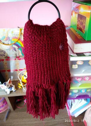 Бордовый 🍒 вязаный шарф с люрексом