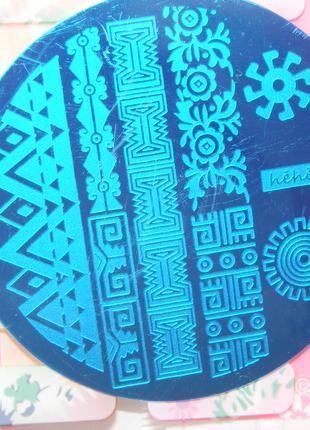 Пластина hehe078 стемпинг трафарет форма плитка диск для маникюра