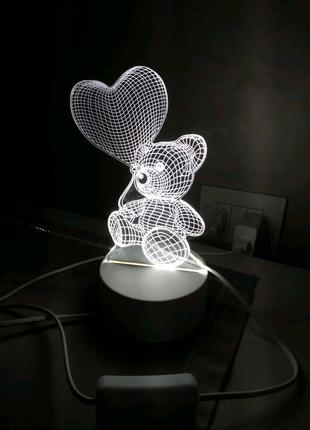 Светильник-ночник 3D Лампа — Мишка с сердцем