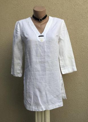 Белая блуза,рубаха,туника,лен100%, этно,бохо стиль,маленький р...