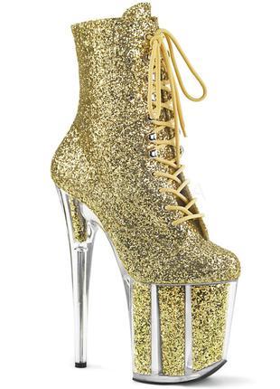Золотистые блестящие стрипы-тройки, женские ботинки с блёстками