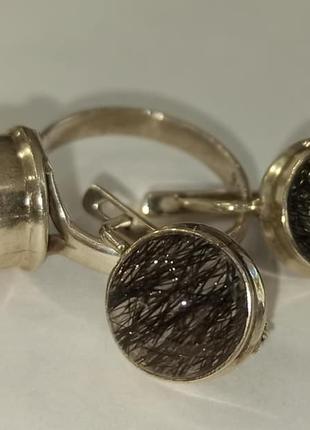 Серьги и кольцо с волосатиком. Турмалиновый кварц в серебре. Шерл