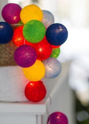 Тайская хлопковая гирлянда из ниточных шариков-фонариков от ба...