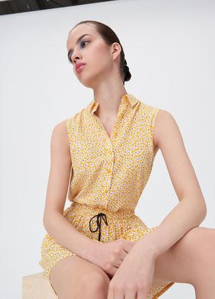 Новая оранжевая канареечная желтая блузка белые цветы рубашка ...