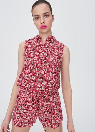Новая широкая коралловая красная блузка белые цветы рубашка пу...