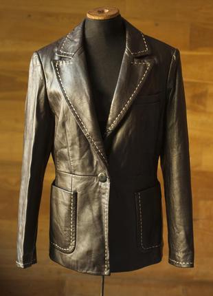 Кожаная коричневая куртка жакет пиджак женский episode, размер м