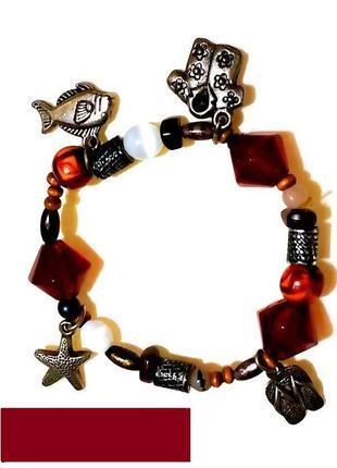Оригинальный браслет с подвесками 💕 декор металл камни дерево ...