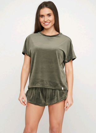 Оливковая теплая женская  пижама