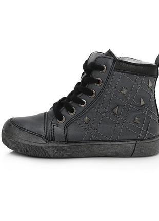 Стильные кожаные ботинки для девочки 068-657l от ddstep