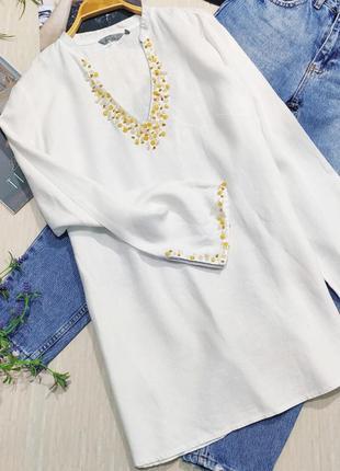 Льняная, удлиненная рубашка