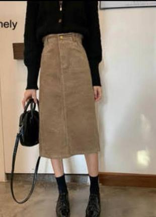 Джинсовая юбка миди цвета хаки р. 12