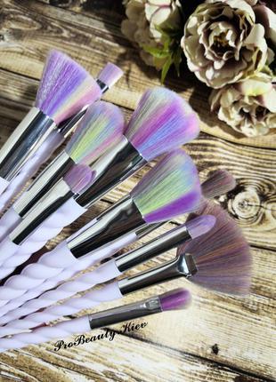 10 шт кисти для макияжа набор rainbow единорог probeauty