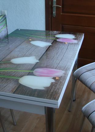 Стол обеденный стеклянный раздвижной + 4 стула,Турция