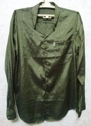 Рубашка мужская зелёная блестящая