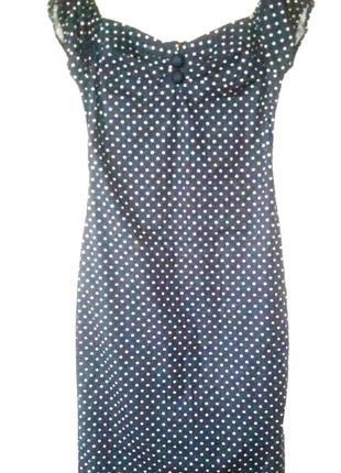 Красивое платье темно-синего цвета(говорят-цвет денег) в белый го