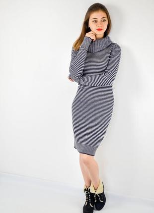 H&m полосатое облегающее миди платье с высоким воротом, теплое...