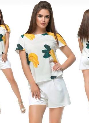 Костюм женский летний шорты и блузка. хлопковый. турецкий