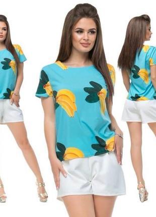 Женский летний хлопковый костюм. шорты и футболка хлопок турция