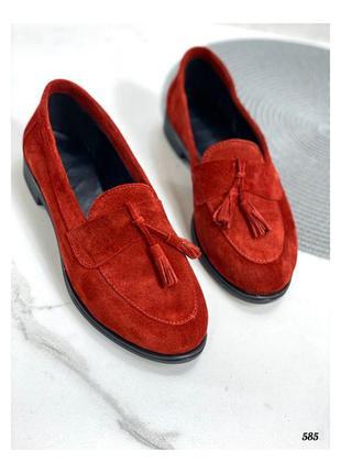 Туфли лоферы замшевые женские красные 586