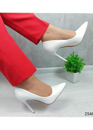 Туфли женские лодочки белые код: 2546