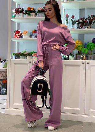 🔥новинка🔥лиловый  костюм оверсайз кофта и брюки / супер цена 🔥