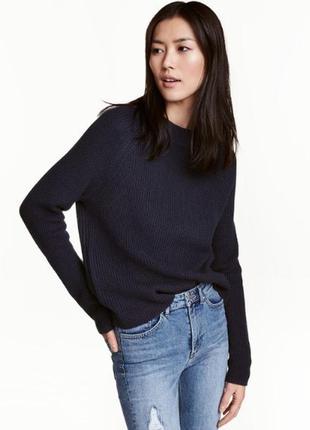 Темно-синий свитер крупной вязки h&m / s
