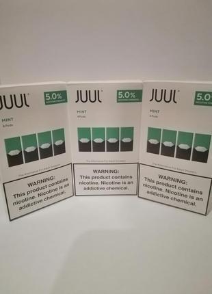 Новогодние скидки. JUUL поды Mint 4 Pods 5% nicotine
