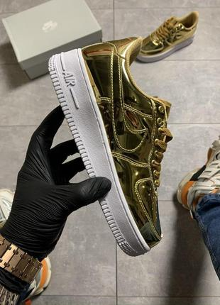 "Кроссовки найк nike air force low ""liquid metal"" gold"