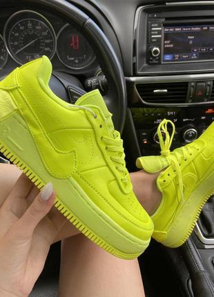 Шикарные женские кроссовки nike air force yellow