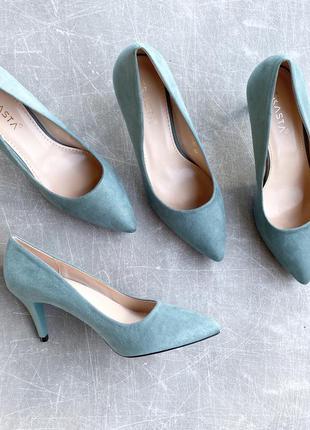 Нереальные оливковые лодочки туфли/каблук 6 см