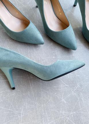 Зеленые оливковые лодочки туфли/каблук 6 см