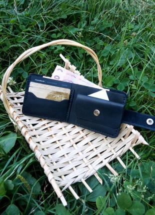 Кожаный портмоне с отделом для мелочи бумажник ручная работа