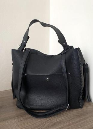 Чёрная сумка з 2 ручками