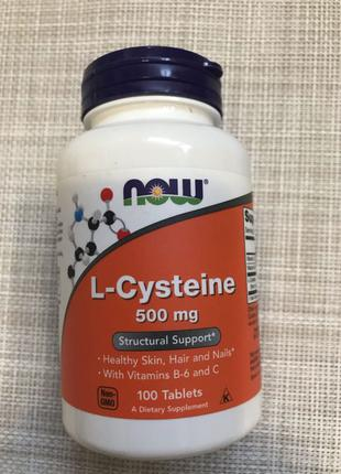 Now Foods , L-Цистеин , L-Cysteine , 500 mg , 100 капсул