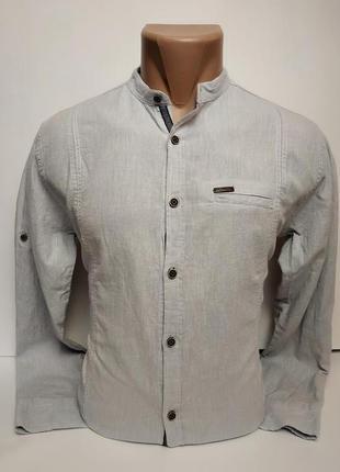 Стильная, хлопковая, приталенная рубашка flyboys, воротник стойка