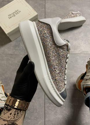 Кроссовки Alexander McQueen Lace-Up Glitter-Leather.
