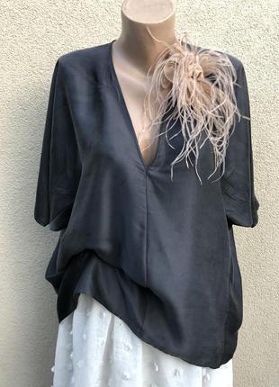 Шелк,серая блуза реглан,рубаха,премиум бренд,