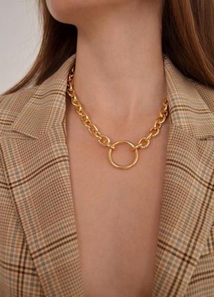 Крупная женская цепочка с кольцом, колье ожерелье золотого цвета